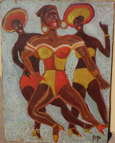 Painting of black female dancers colorful