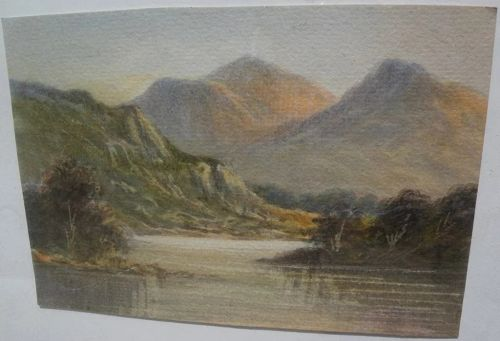 English or Scottish 19th century watercolor painting of the Lakes District or Highlands�