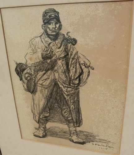 THEOPHILE-ALEXANDRE STEINLEN (1859-1923) lithograph print of WWI subject dated 1915�