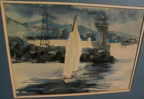 """American signed impressionist watercolor painting """"Sailing at the Coast"""""""