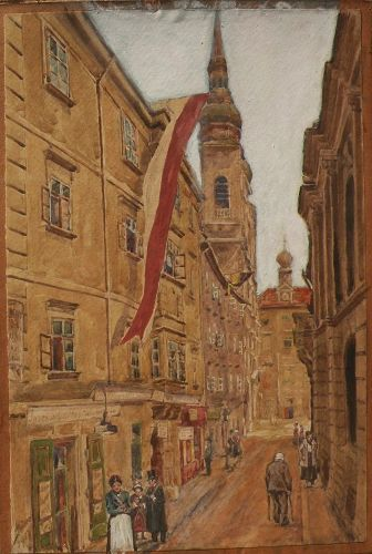 Austrian art signed watercolor street scene painting dated 1917