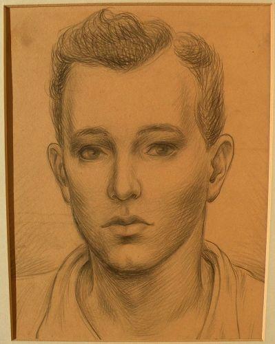 Circa 1935 American pencil drawing of a young man