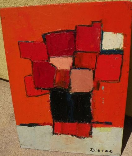 W. DIETER ZANDER (1915-2013) modernist still life painting on board by noted gallery artist