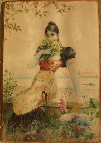 Antique 1890 Italian watercolor painting of young woman in Venice