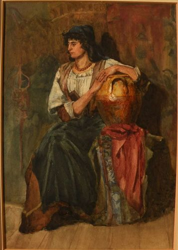 Antique 19th century European watercolor of seated figure