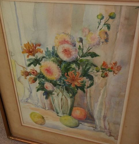 Signed vintage American watercolor still life painting