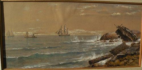 EDMUND DARCH LEWIS (1835-1910) fine American marine art watercolor and gouache coastal landscape including shipwreck