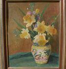Impressionist signed floral still life painting with modernist touch