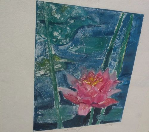 Monotype painting of water lilies by Los Angeles artist�� Pat Berger