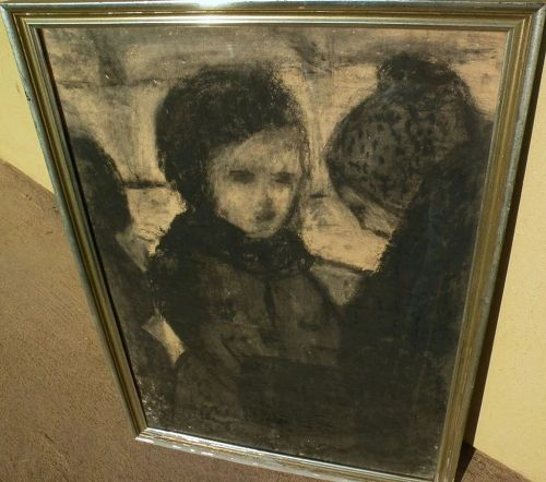 Pastel vintage drawing of mother and child