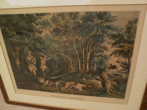 """Currier and Ives large folio hand colored lithograph print """"Woodcock Shooting"""" 1852, condition issues"""