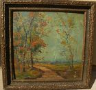 "Impressionist old American autumn landscape painting ""Creek Road"""