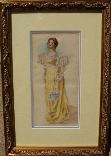 Antique watercolor painting of a woman in 19th century clothing