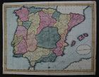 Antique map HAND DRAWN 1809 Spain and Portugal with great details