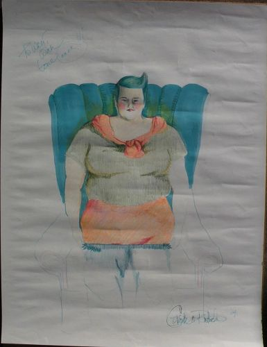 Contemporary American art 2004 signed drawing of a woman