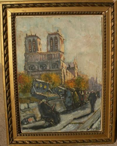 Impressionist Paris painting of booksellers by the Seine signed Bigot