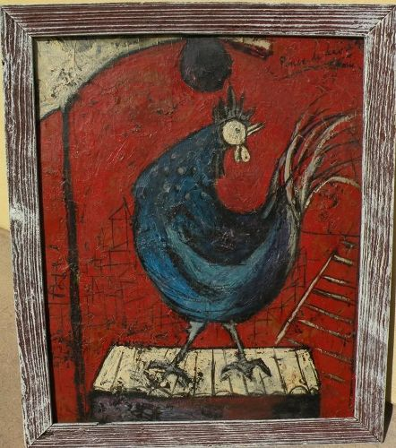"ANGEL PONCE DE LEON (1925-) modernist 1954/55 painting ""Coq"" by noted Spanish artist"