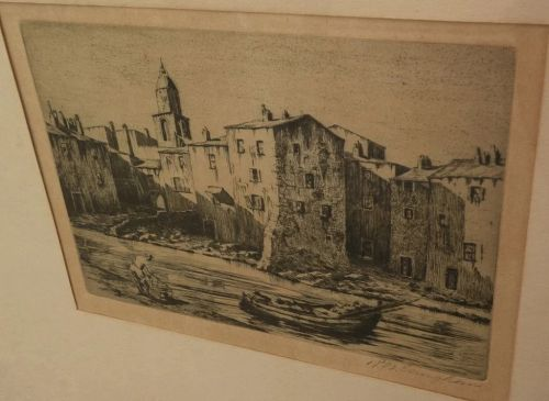 "REGINALD WILMER VAUGHAN (1870-1958) etching ""Fishermen's Houses Saint Tropez"" by noted California artist"