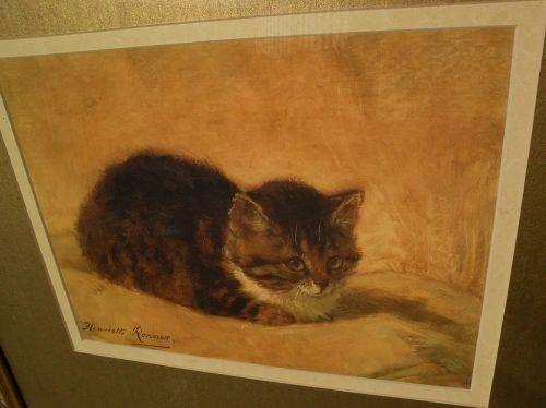 Cat art framed color print after HENRIETTE RONNER-KNIP painting