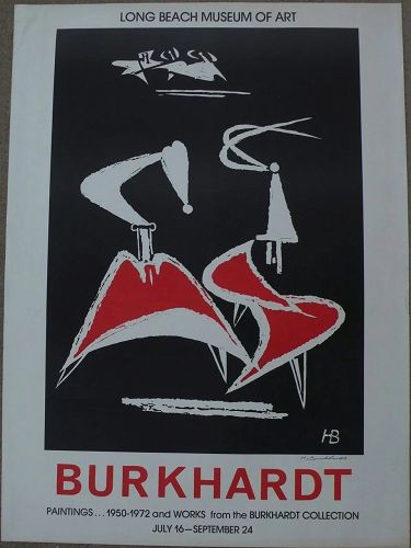 HANS BURKHARDT (1904-1994) signed museum exhibition poster from 1972 by important Swiss-born California modern artist