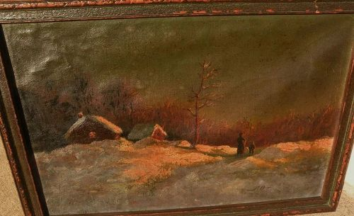 Russian art early 20th century winter night landscape painting with figures signed with initials