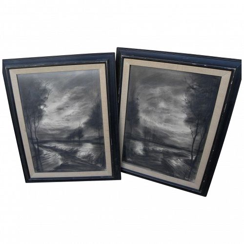 ROGER ETIENNE (1922-2011) **pair** of charcoal landscape drawings by noted mid century French artist