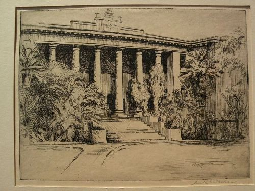 "JESSIE SHAW FISHER (1877-after 1942) scarce early Hawaiian art pencil signed etching ""Hawaii Hall"""