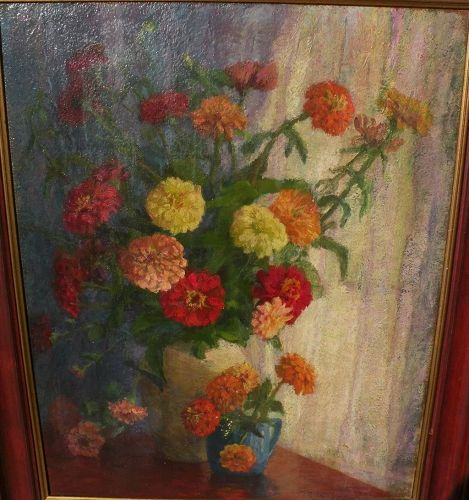 American impressionist still life oil painting signed