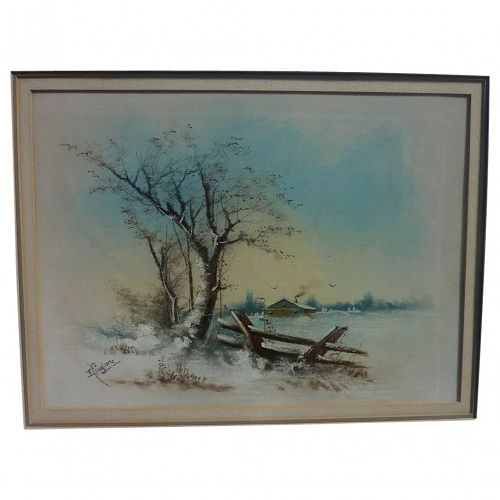 Pastel antique drawing of snowy winter landscape