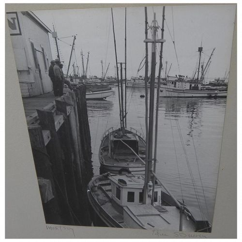 Vintage black and white photograph of docks at Monterey California