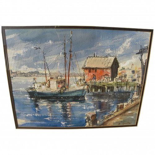 ALEXANDER IGNATIEV (1913-1995) watercolor painting of Rockport harbor by listed Russian-born California artist
