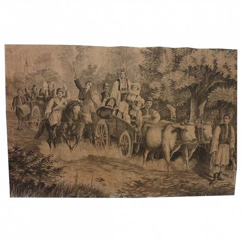 Old World signed 1884 watercolor drawing of a wedding procession