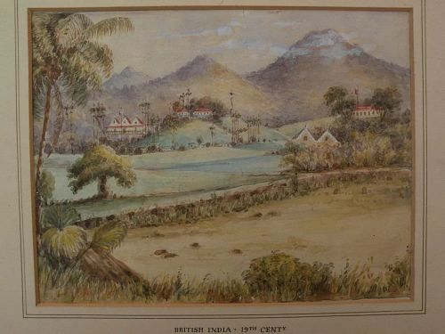 "Topographical art original 19th century landscape watercolor ""British India"""
