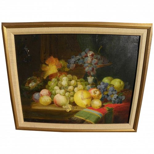 American or English 19th century still life painting signed with monogram