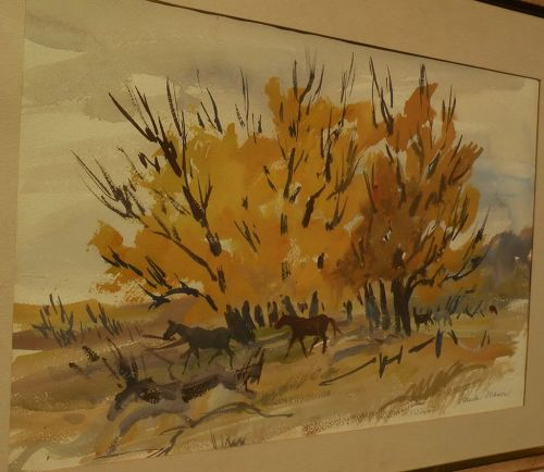 impressionist landscape watercolor horses and autumnal trees signed PAMELA MASON