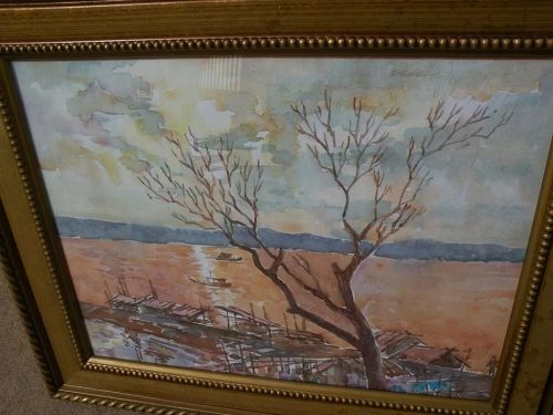Asian watercolor painting from Myanmar (Burma) signed Minn Thein 2001