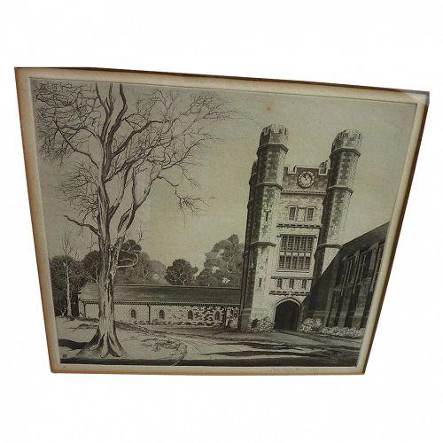 "JOHN TAYLOR ARMS (1887-1953) pencil signed etching ""Herbert Lowell Dillon Gymnasium, Princeton, NJ"", 1947"