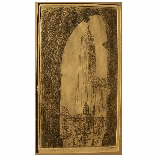 F.W.W. HOPPE circa 1920's signed etching of Woolworth Building in New York