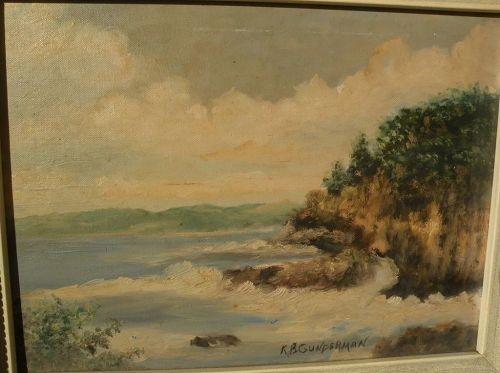 American art vintage signed rocky coastline landscape painting