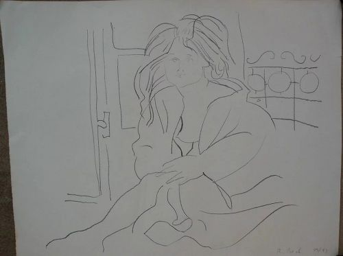 Contemporary limited edition lithograph print female nude in interior signed