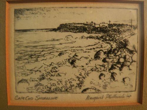"""MARGARET ELDER PHILBRICK (1914-1999) etching """"Cape Cod Shoreline"""" by listed Massachusetts artist"""