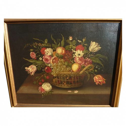 antique mid 19th century French still life painting