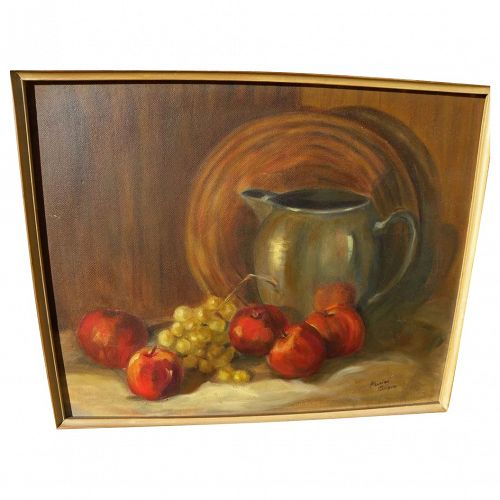 Fruit still life painting by California mid century artist