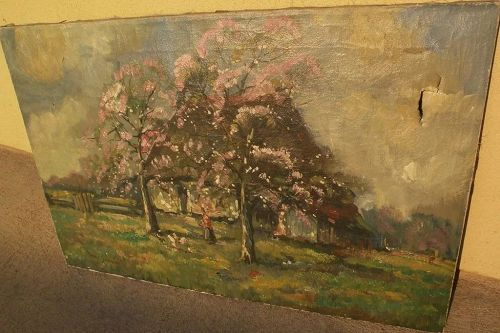 Impressionist painting farmhouse in spring landscape signed Louis Soonius