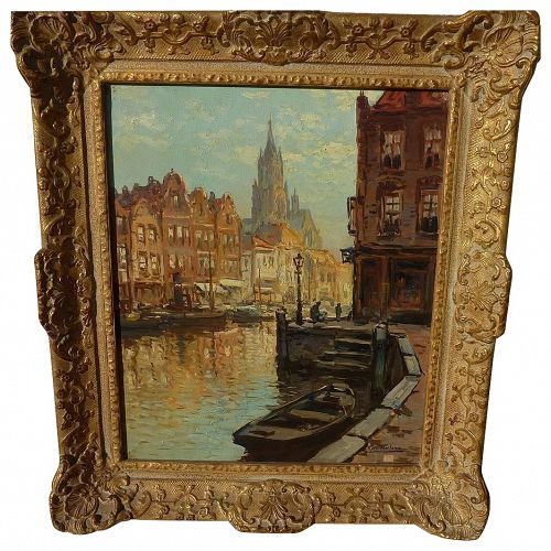 KEES TERLOUW (1890-1948) impressionist painting of Amsterdam by listed Dutch artist�