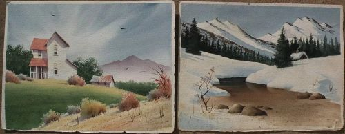 KEN DECKER (1926-1994) **PAIR** California Scene watercolor double sided landscape paintings