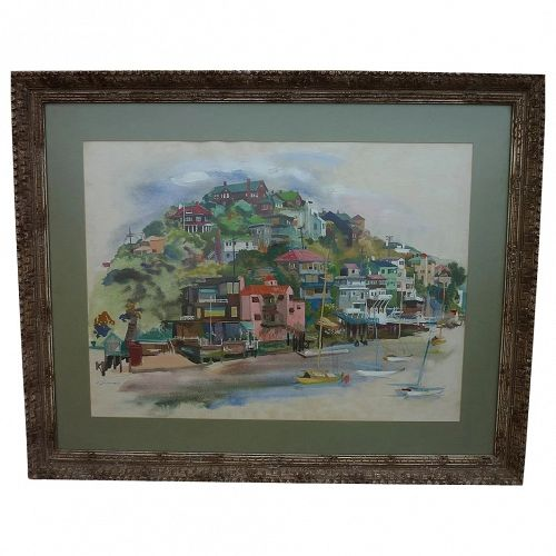 Corinthian Island (Tiburon) California near San Francisco watercolor