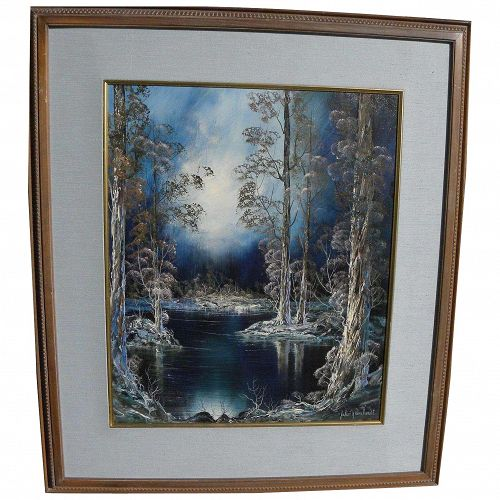 JULIAN RHINEHARDT (b. 1915) Mid Century oil painting of magic winter forest