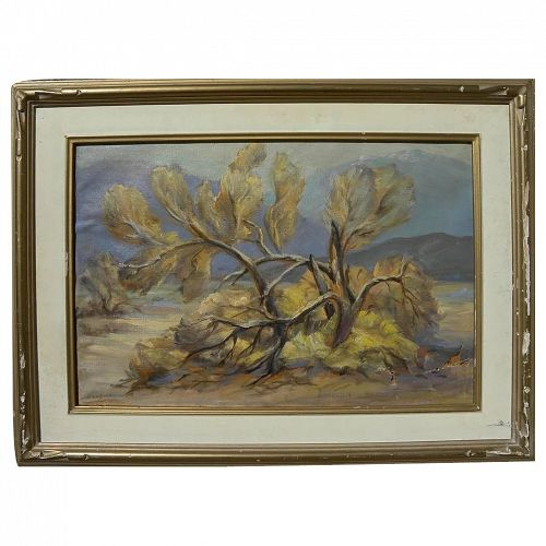 "California plein air art desert landscape painting ""Smoke Tree"" by listed artist Marguerite Haydock"