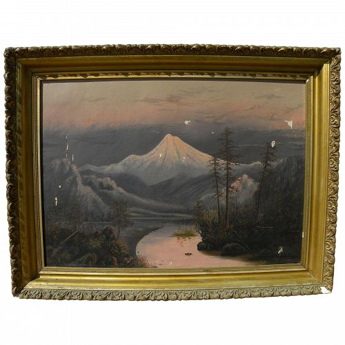Northwest art late 19th century painting of volcano Barchus school style